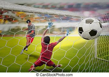 gól, kihangsúlyoz, lövés, lövés, és, kapus, beakad, a, labda