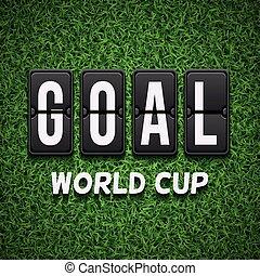 gól, scoreboard., labdarúgás, futball, vektor, fogalom, helyett, világbajnokság