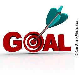 gól, szó, -, nyíl, alatt, céltábla