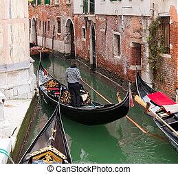 góndola, en, venecia, canal