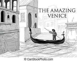 góndola, venecia, bosquejo, canales