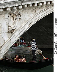 góndola, venecia, -, rialto, brigde