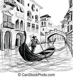 góndola, venecia, vector, bosquejo