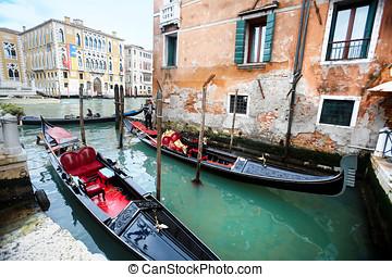 góndolas, al lado de, ponte, dell, academia, en, venecia