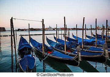 góndolas, italia, salida del sol, venecia