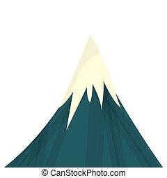 góra, śnieżny, ikona