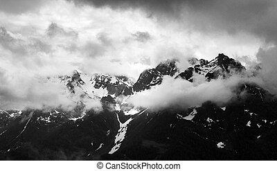 góra, śnieżny, panorama, pochmurny, skala, monochromia