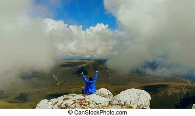 góra, życie, pojęcie, rozpostarty, handlowy, pomyślny, poza, herb, wycieczkowicz, daszek, osiągnięcie