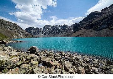góra, ala-kul, -, jezioro, majestatyczny, tien, shan