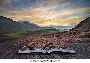 góra, amant, oszałamiający, kolor, krajobraz, wibrujący, ...