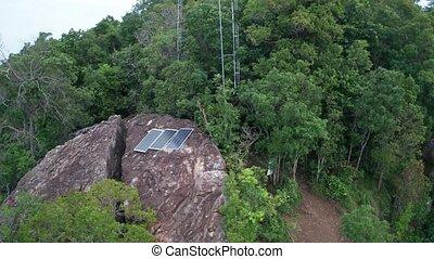 góra, antena, skalisty, kropka, odizolowany, słoneczny, ...