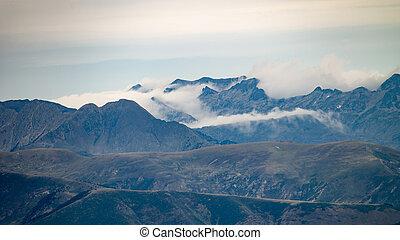 góra, chmura, szczyty, formacja, otaczać