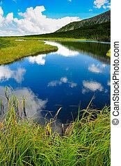 góra, chmury, odbicie, niebo, jezioro, biały