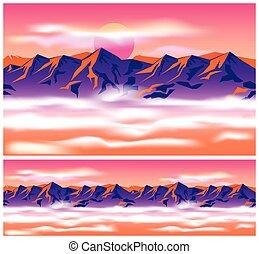 góra, chmury, szpice