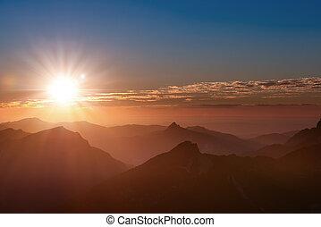 góra, chmury, tryb, słońce, górny, tirol, zachód słońca, szpice