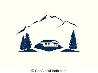 góra, drzewa, wektor, chata, krajobraz, ikona