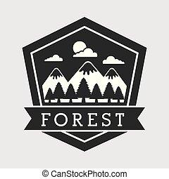 góra, emblemat, drzewo, badanie, las, krajobraz, przygoda