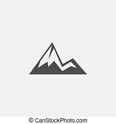 góra, eps10, płaski, ilustracja, color., wektor, projektować, czarnoskóry, ikona