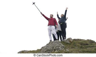 góra, grupa, podniecony, wolność, selfie, górny, turyści, ...