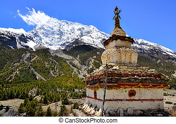 góra, himalaje, buddysta, stupa, prospekt, kaplica