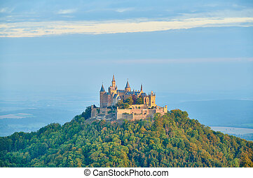 góra, hohenzollern, zamek, górny, niemcy, hilltop