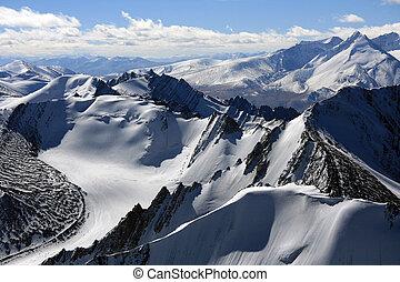 góra, -, indie, szpice, himalaya