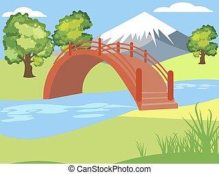 góra, japończyk, rysunek, płaski, color., rysunek, dzieci, minimalista, park., jasny, style., natura, wektor, tło., ogród