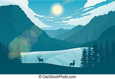 góra, jeleń, dwa, jeziorowy las, krajobraz