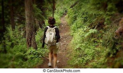 góra, kobieta hiking, ciągnąć