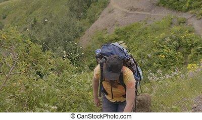 góra, kobieta hiking, tour., moutain, ciągnąć, znowu, pojęcie, wspinaczkowy, podróż