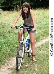 góra, kobieta, młody, rower, kraj
