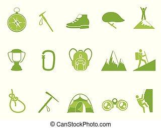 góra, komplet, ikony, kolor, zielony, wspinaczkowy