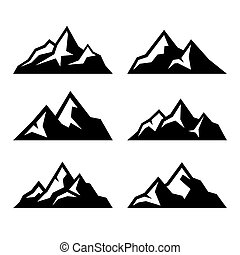 góra, komplet, ikony, tło., wektor, biały
