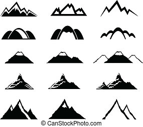 góra, komplet, ikony