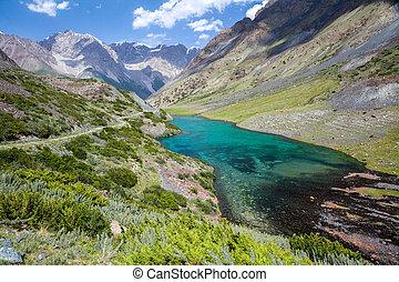 góra, kyrgyzstan, tien, shan, jezioro, cudowny