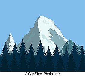 góra, las, krajobraz, trzęsie się