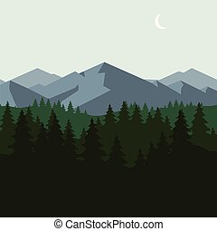 góra, las, krajobraz