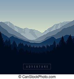 góra, las, przygoda, krajobraz, natura, błękitny