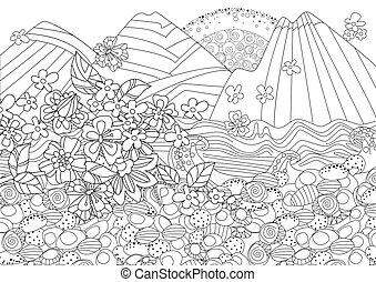 góra, motyw morski, sakura, gałąź, flowering, wschód słońca