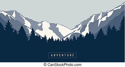 góra, na wolnym powietrzu, las, krajobraz, przygoda