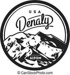 góra, na wolnym powietrzu, północ, illustration., usa, denali, alaska, ameryka, badge., przygoda, mckinley, skala