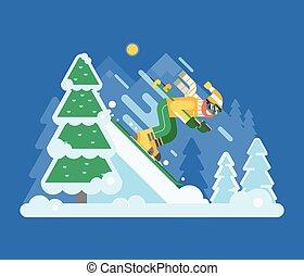 góra, narciarstwo, człowiek, jeżdżenie, na, zima, las
