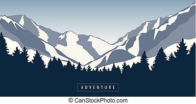 góra, natura, śnieżny, przygoda, krajobraz, las
