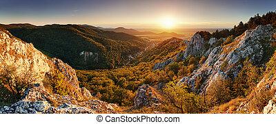 góra, natura, -, zachód słońca, panoramiczny