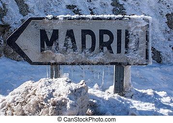 góra,  navacerrada, Zima, Madryt, Hiszpania