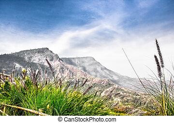 góra, niebo, i, ziemia, krajobraz