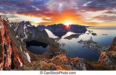 góra, norwegia, zachód słońca, krajobraz, brzeg