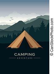 góra, obozowanie, przygoda, zielony las, krajobraz, namiot