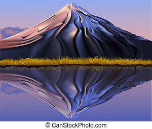 góra, odbicie, krajobraz