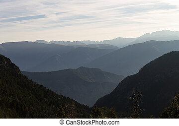 góra, oddalony, szpice, horyzont